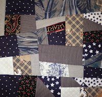 made fabric crazy quilt block gray