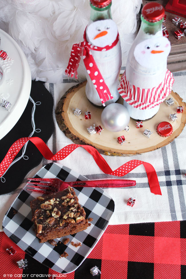 snowman craft using coke bottles, coca cola cake recipe, plaid