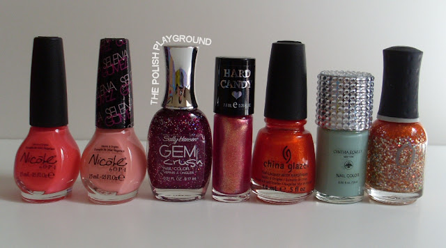 Nicole by OPI, Sally Hansen, Hard Candy, China Glaze, Cynthia Rowley, Orly
