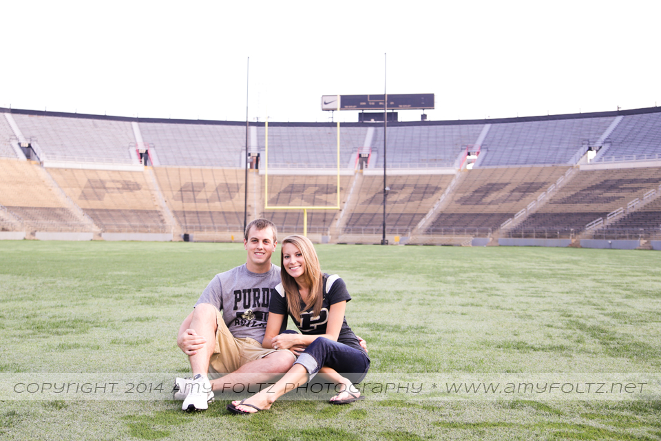 engagement photo at Ross-Ade Stadium at Purdue University