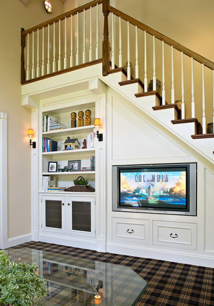 Make your life colorful living room under stairs for Living room under stairs