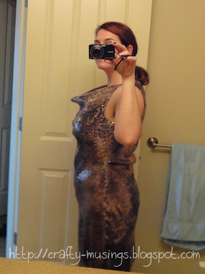 sequin dress fail, side view of crazy cowl