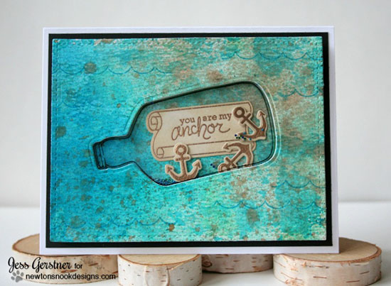 Message in a bottle Shaker Card by Jess Gerstner | Message in a Bottle Stamp set by Newton's Nook Designs