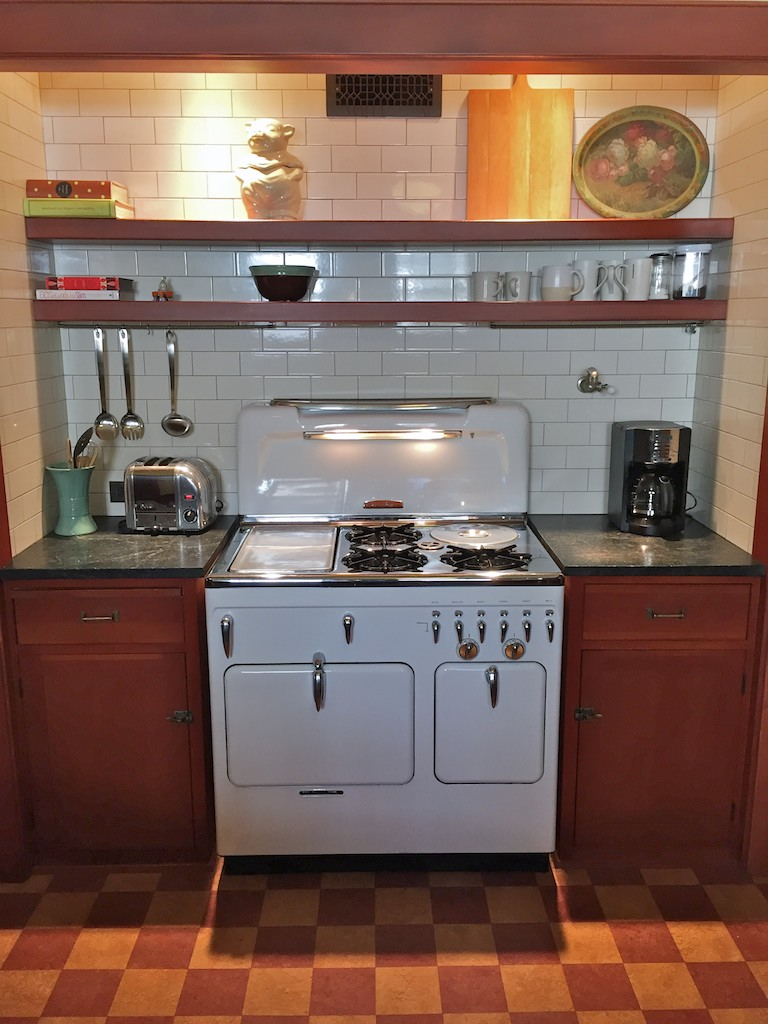 Restored Vintage Chambers Stove Model 90C Highback Set In Vintage Kitchen  With Subway Tiles And Cork