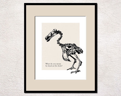 framed humorous poster with dodo bird skeleton