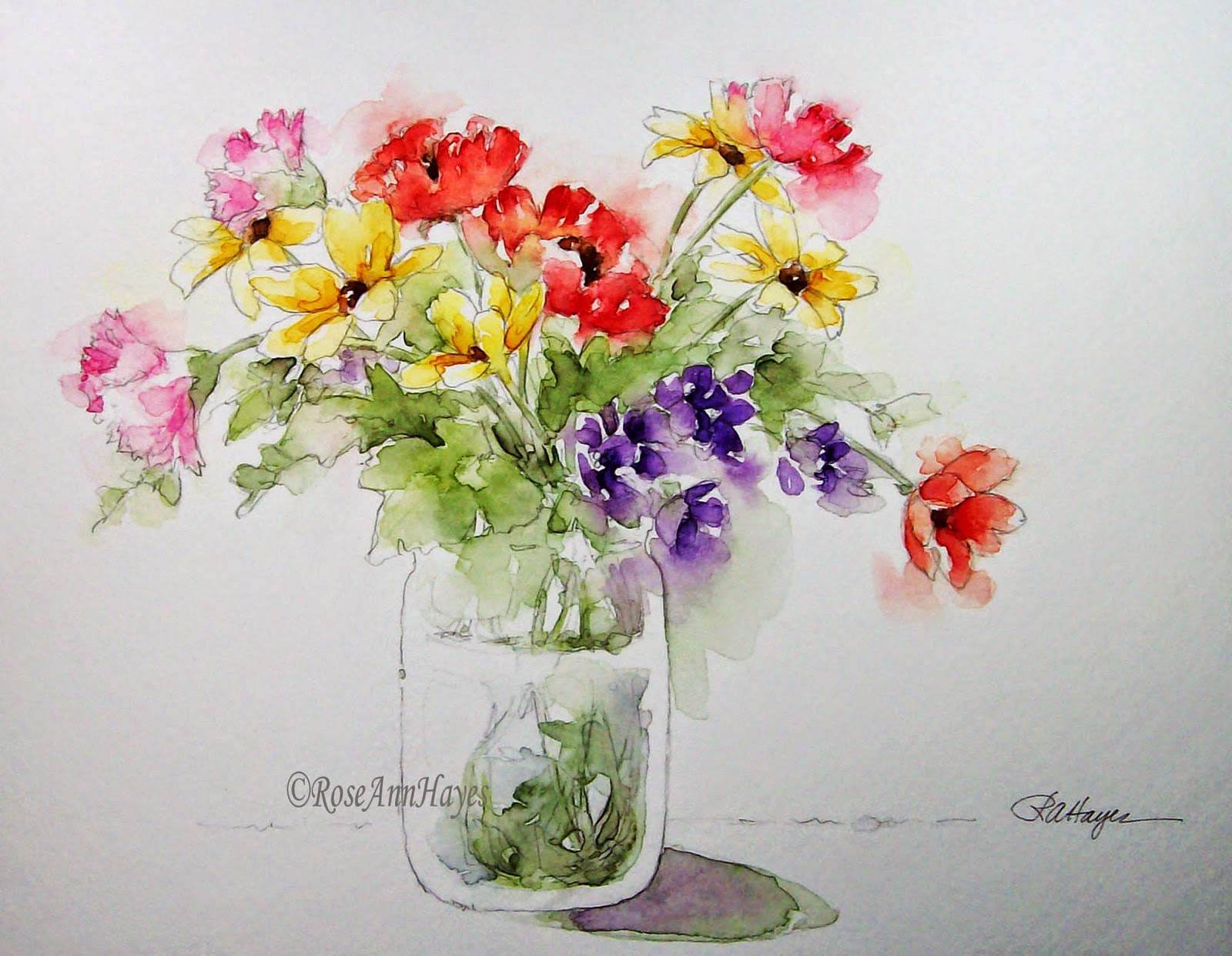 Watercolor Paintings by RoseAnn Hayes: Floral Bouquet Watercolor ...
