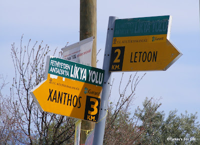 Lycian Way Signs For Xanthos & Letoon