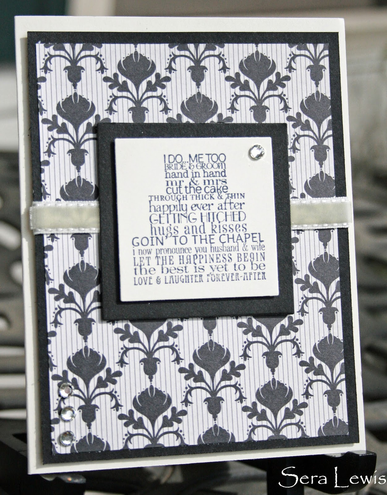 Wedding card in black and cream, using Stampin' Up! Love and Laughter