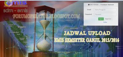 Jadwal Upload EMIS Semester Ganjil 2015-2016
