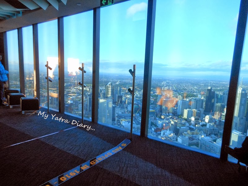 Blue tinged windows of the Eureka Sky deck, Melbourne Victoria Australia