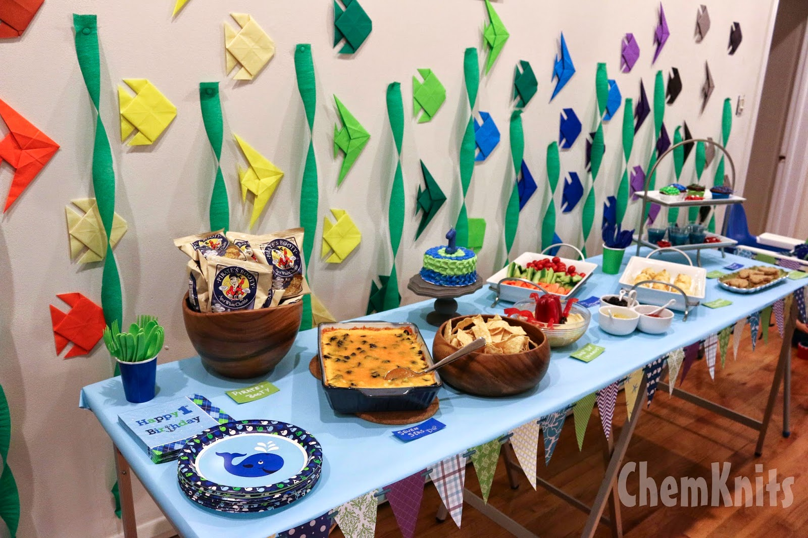chemknits a whale of a first birthday party