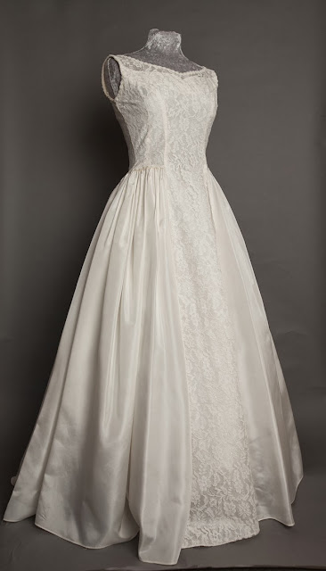 HVB 1950s wedding dresses - Full length Emma Domb 1950s lace and satin wedding dress, priced £995