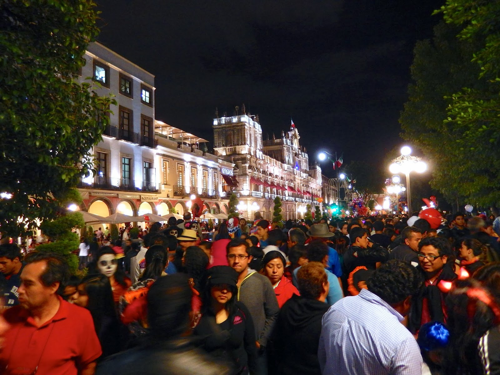 centro, plaza, puebla, catedral, halloween, mexico