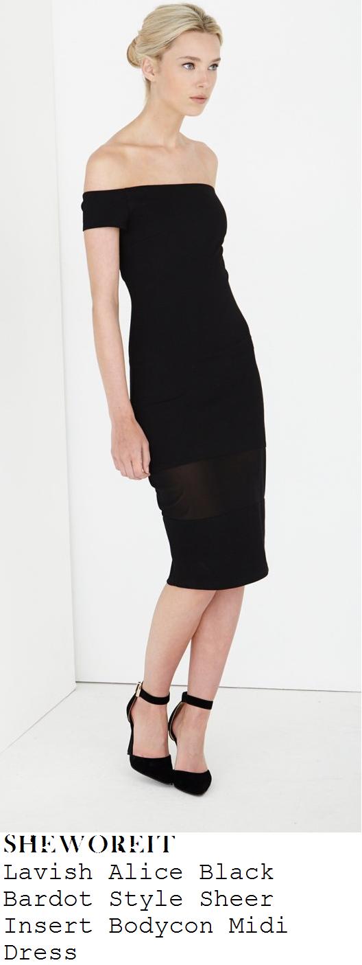 michelle-keegan-black-bardot-off-the-shoulder-bodycon-jersey-sheer-mesh-panel-midi-dress