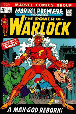 Marvel Premiere #1, Adam Warlock stands looking dramatic as Thor and the Hulk look on, cover by Gil Kane