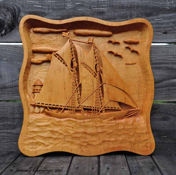 Jamie s carvings bluenose ii high relief carving by