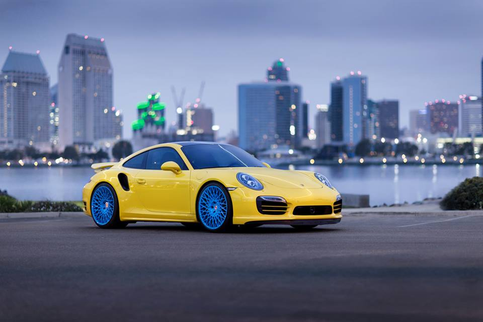 Yellow Porsche 911 Turbo S Sitting On Bright Blue Hre S Is