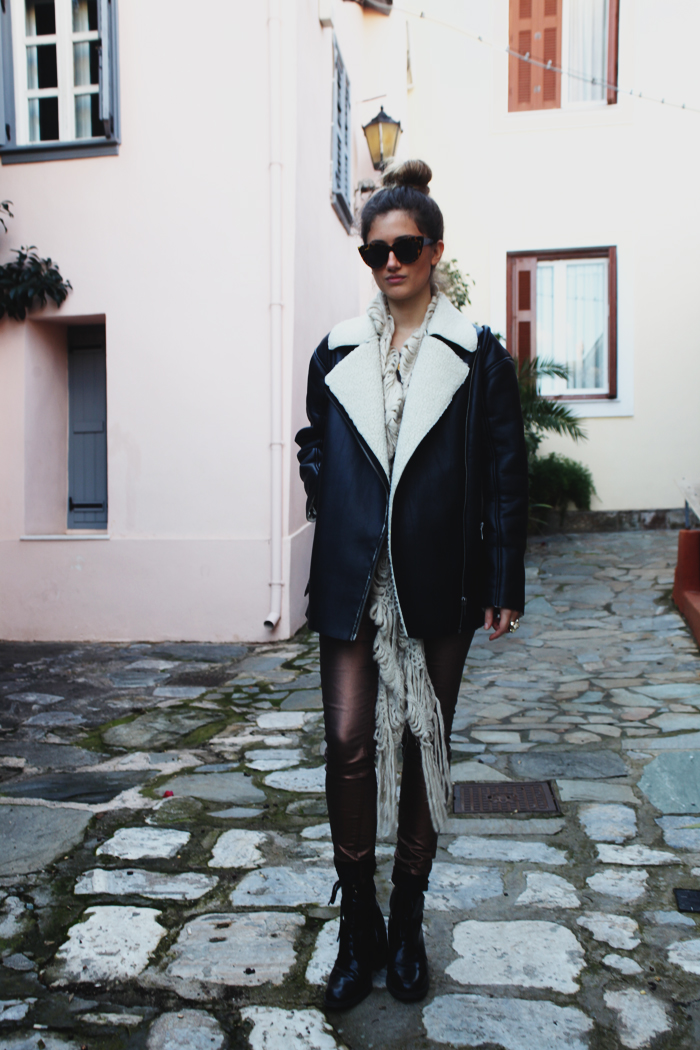 shearling coat outfit