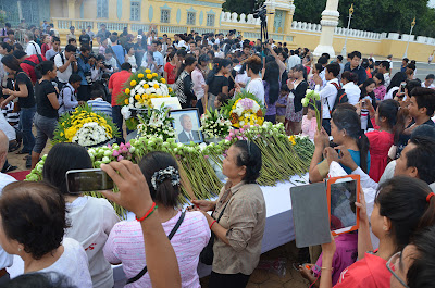 Death of King Father Norodom Sihanouk, offering table at Royal Palace, Phnom Penh, Cambodia