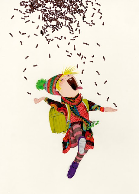 illustration of a little girl in a rain of chocolate sprinkles