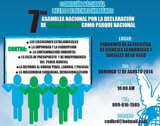 """7ma Asamblea Nacional """"Por Loma Miranda Parque Nacional"""""""