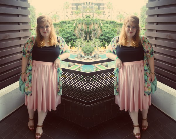 fashion and beauty blog, plus size fashion, asos midi skirt, kimono, newlook, ootd, tenerife, summer fashion