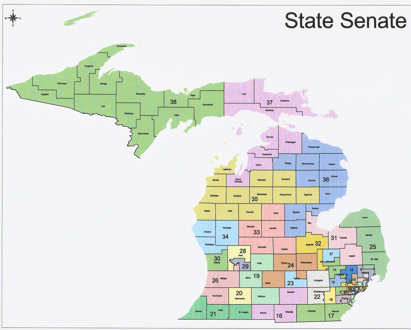 Michigan Redistricting Republican State Senate Map Passed RRH - Map of the state of michigan
