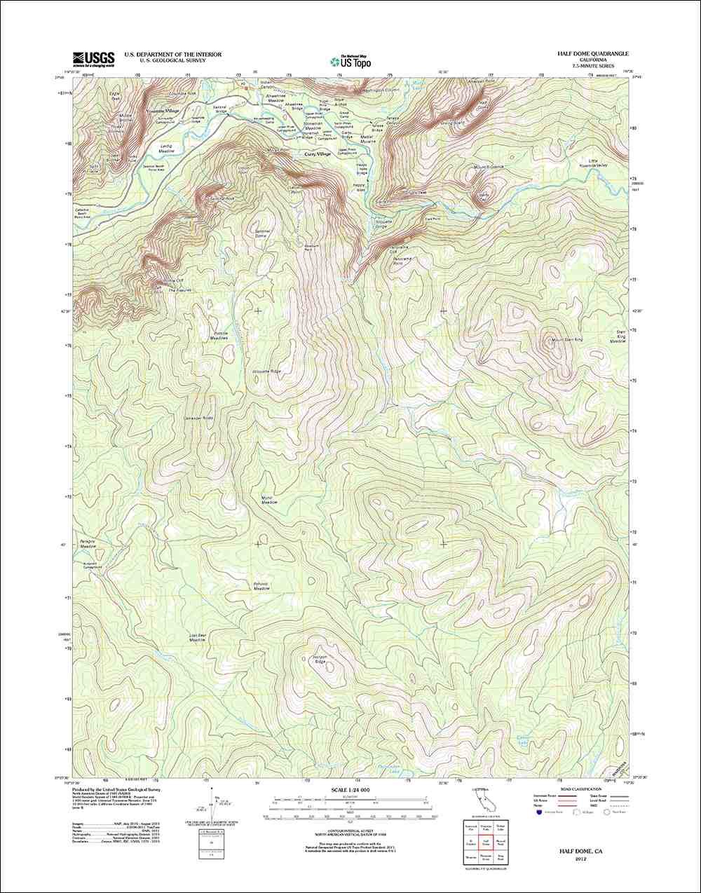 Topographical Map Of The Half Dome Area Of California Usgs