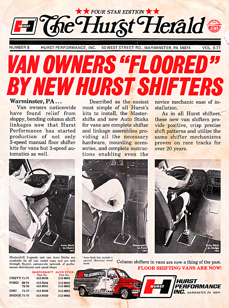 Hurst ad from the 1970 featured shifters for vans.