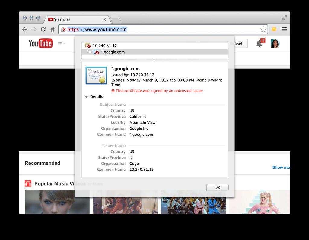 Youtube, Josh Wieder, Gogo Internet, SSL Certificate,