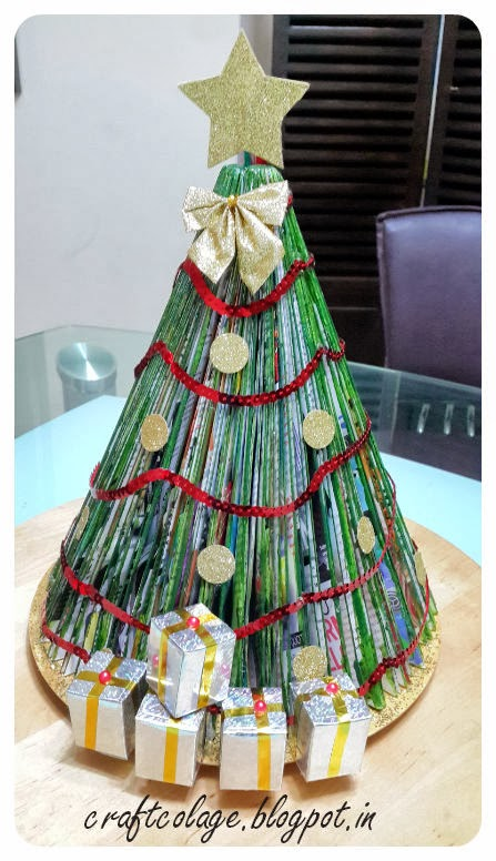 Anuja's Craft Collage: Recycled Magazine Christmas Tree