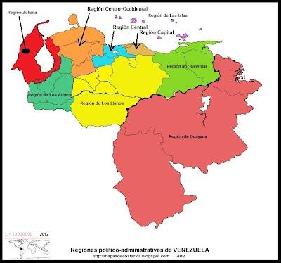 Mapa con los nombres de las Regiones politico-administrativas de VENEZUELA