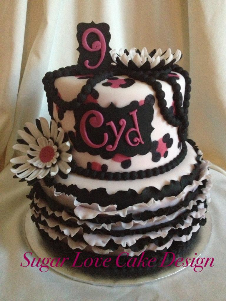 Sugar Love Cake Design Black Pearl Leopard Print