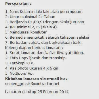 Info Lowongan Semen Padang Gresik Terbaru Januari Februari 2014