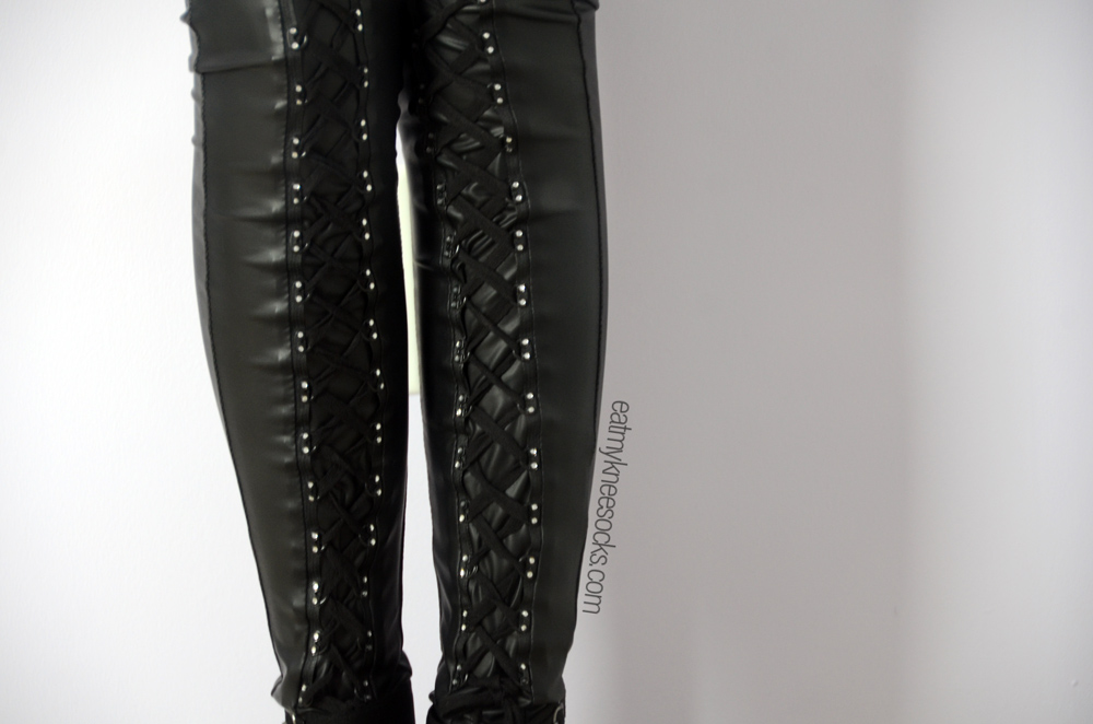 Close-up of the laces on these unique, punk, gothic leggings from JollyChic.