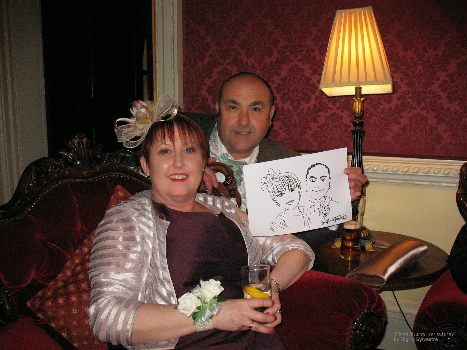 Glamicature wedding caricatures by UK caricaturist Ingrid Sylvestre at the wedding of Hannah and David at Lumley Castle County Durham