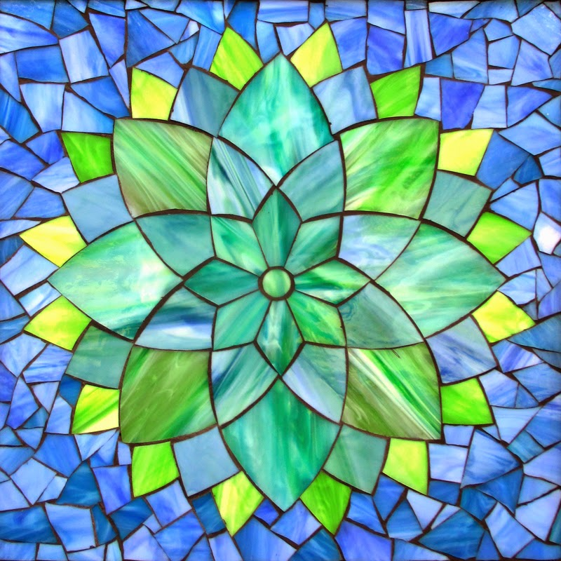 aqua dhalia stained glass mosaic 11 x11 12 x12 fram