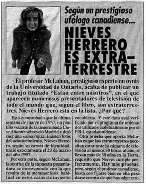 Según un ufólogo canadiense, la periodista Nieves Herrero es extraterrestre
