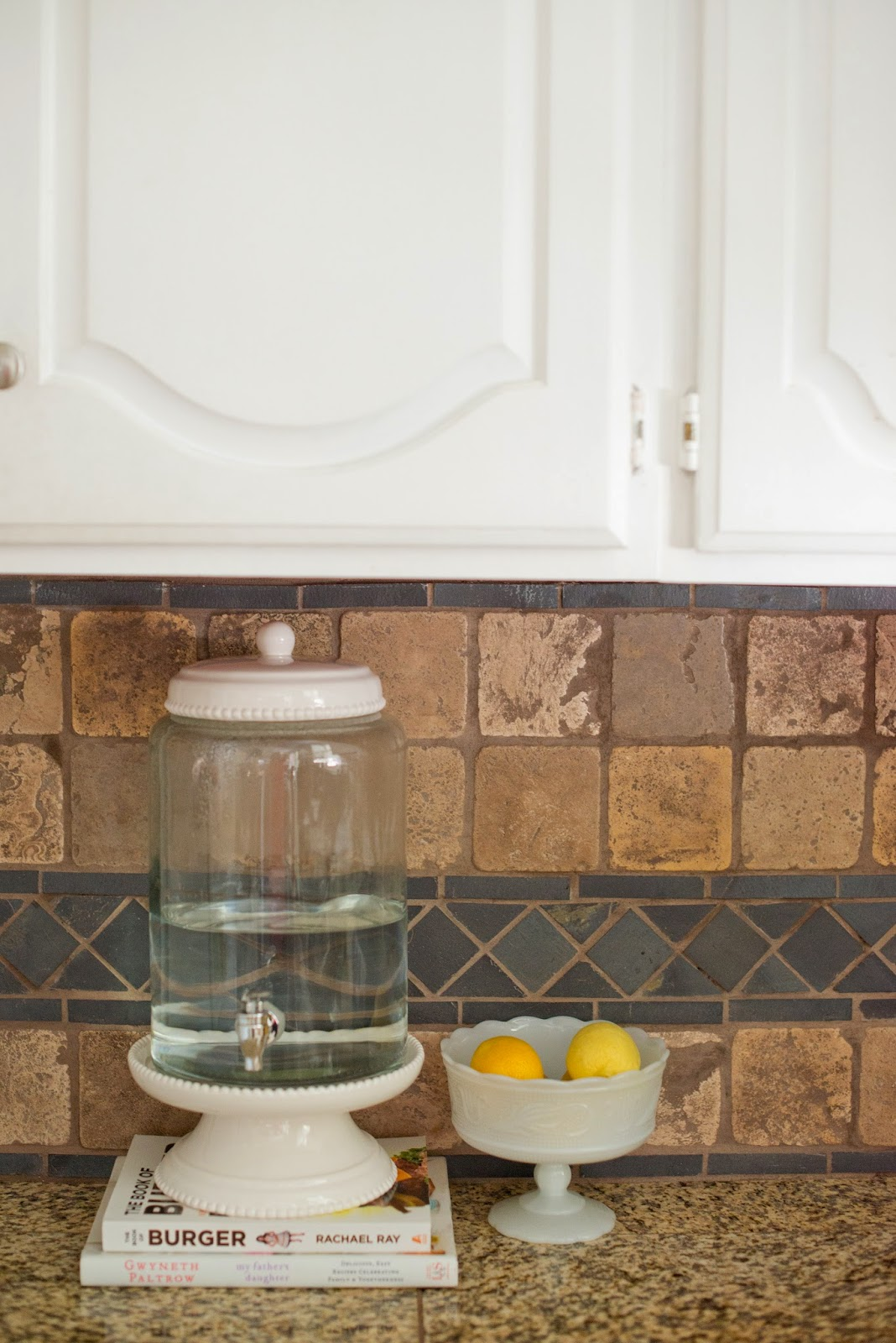 I Took My Own Advice And Decided To Style The Space Like I Did My Kitchen  Sink. I Have Lemons On Hand If I Want To Add A Little Flavor To My Water.