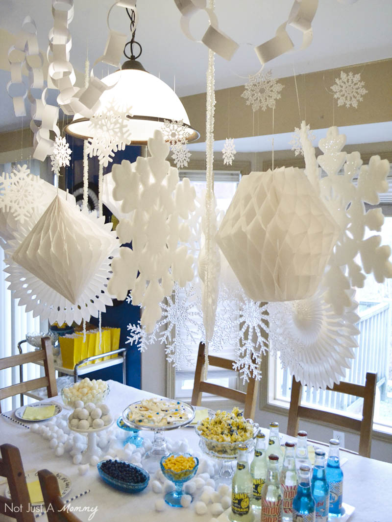 A Minions Winter Yeti-land Movie Watching Party needs lots of snowflakes and white decorations