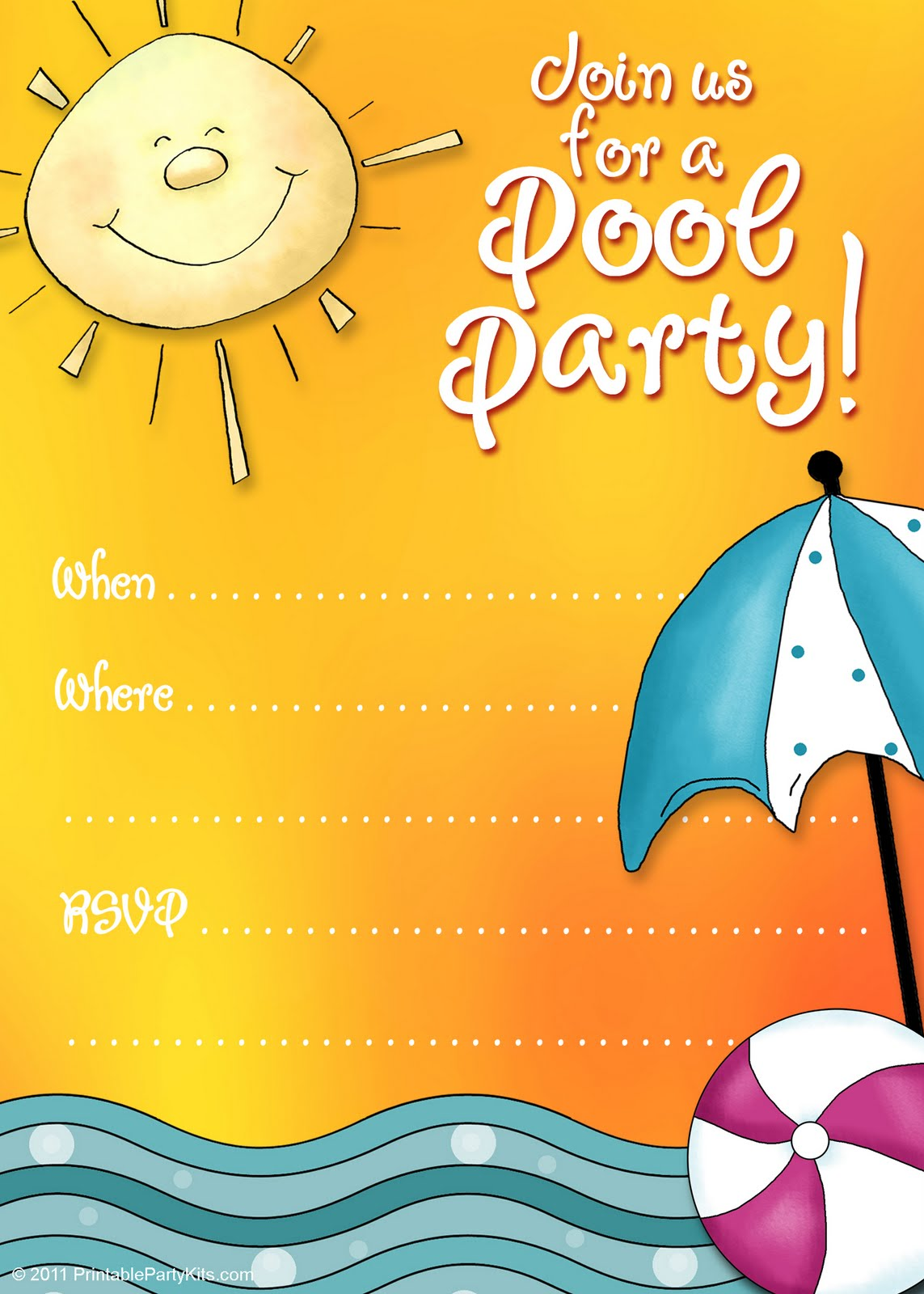 Click on the free printable pool party invitation template to see it