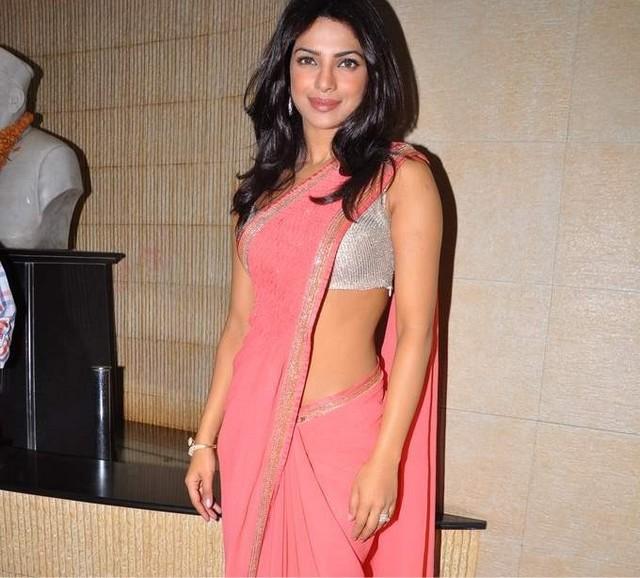 Priyanka Chopra in Shining Silver Blouse & Pink Saree bollywood in dadasaheb phalke academy awards images