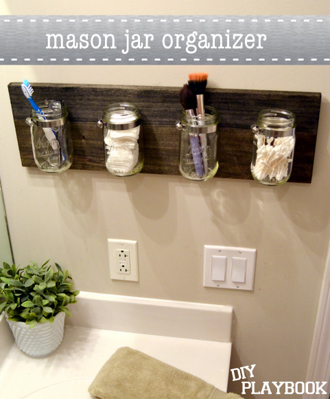 Mason Jar Bathroom Organizer Stained Wood