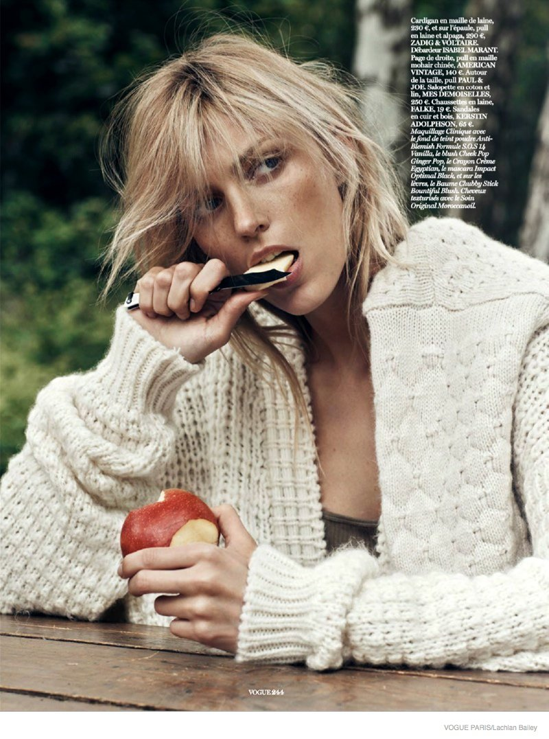 'Into the Wild' Anja Rubik models cosy knitwear for Vogue Paris October 2014