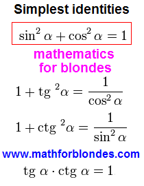 Basic trigonometric identities formula. Simplest identities. A theorem of Pythagoras is in trigonometry. The sum of squares of sine and cosine is equal to unit. A tangent is increased on a cotangent equal to unit. Mathematics for blondes.
