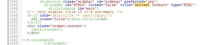 widget di tampilkan