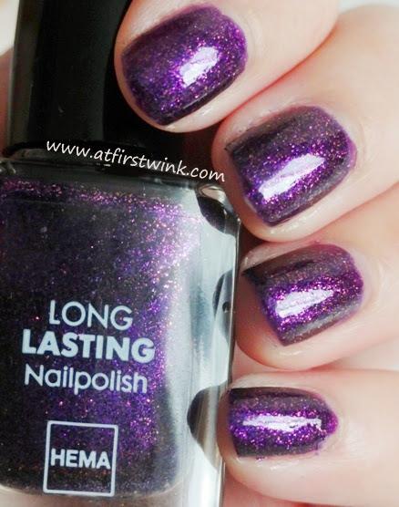 HEMA long lasting nail polish 827 (purple shimmer nail polish)