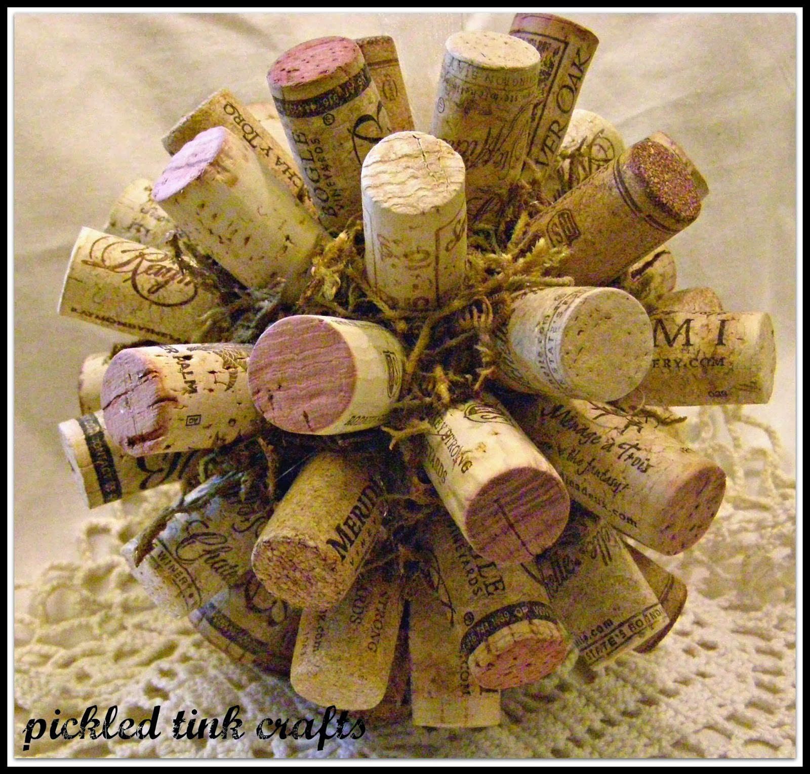 Pickled tink crafts wine cork christmas ball for Cork balls for crafts