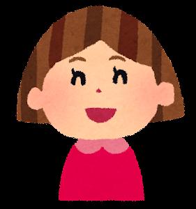 女の子の表情のイラスト「笑った顔」