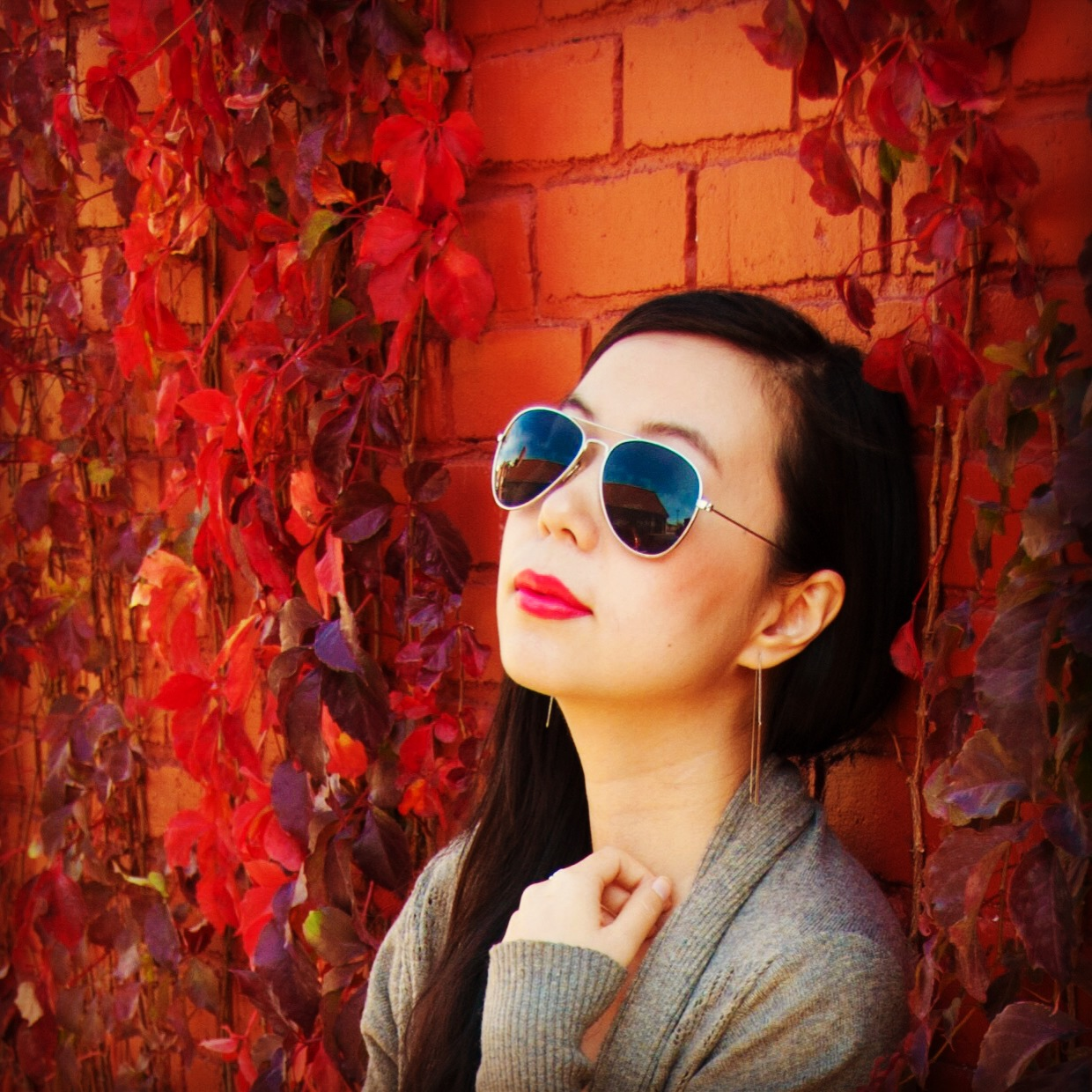 autumn fall vines leaves aviators pink lipstick grey cardigan red bricks